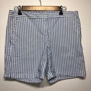 Izod blue & white striped shorts size 10